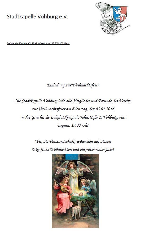 Weihnachtsfeier Im Januar.Einladung Zur Weihnachtsfeier Am 5 Januar 2016 Stadtkapelle