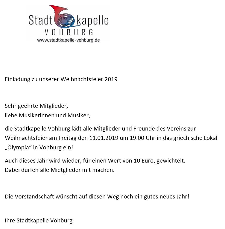 Weihnachtsfeier Im Januar.Weihnachtsfeier 2019 Stadtkapelle Vohburg E V